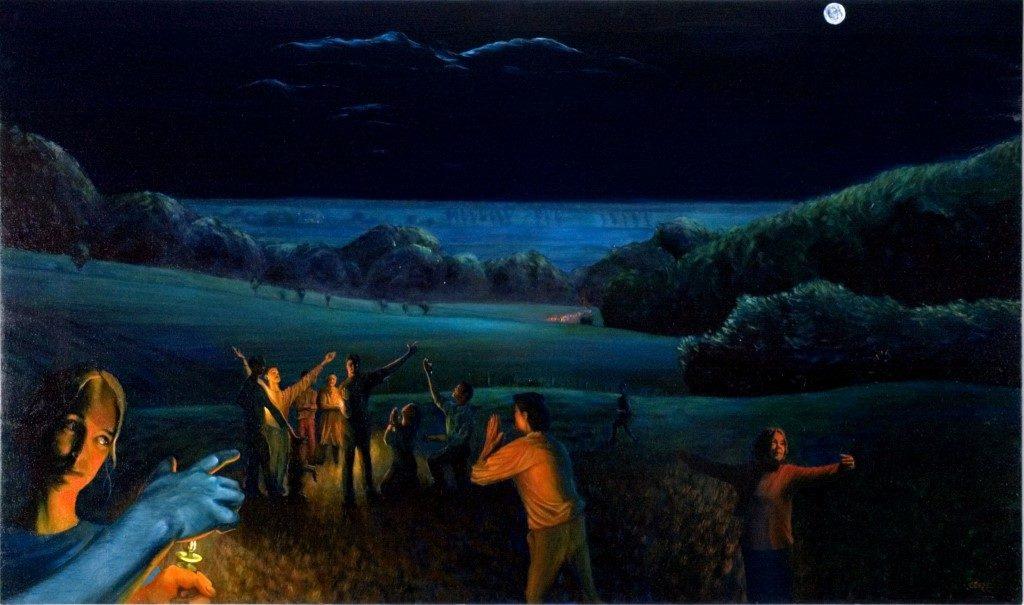 Surrealistic landscape oil painting