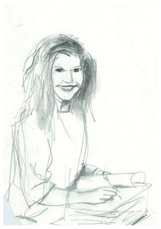 Realistic portrait graphite pencil drawing