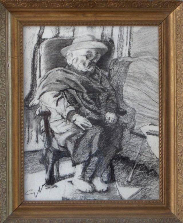 Impressionistic female charcoal drawing