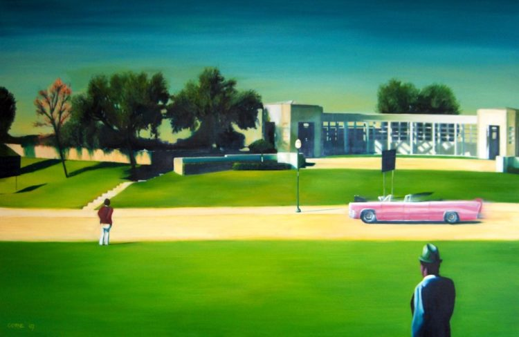 Surrealistic oil painting on the the JFK assassination