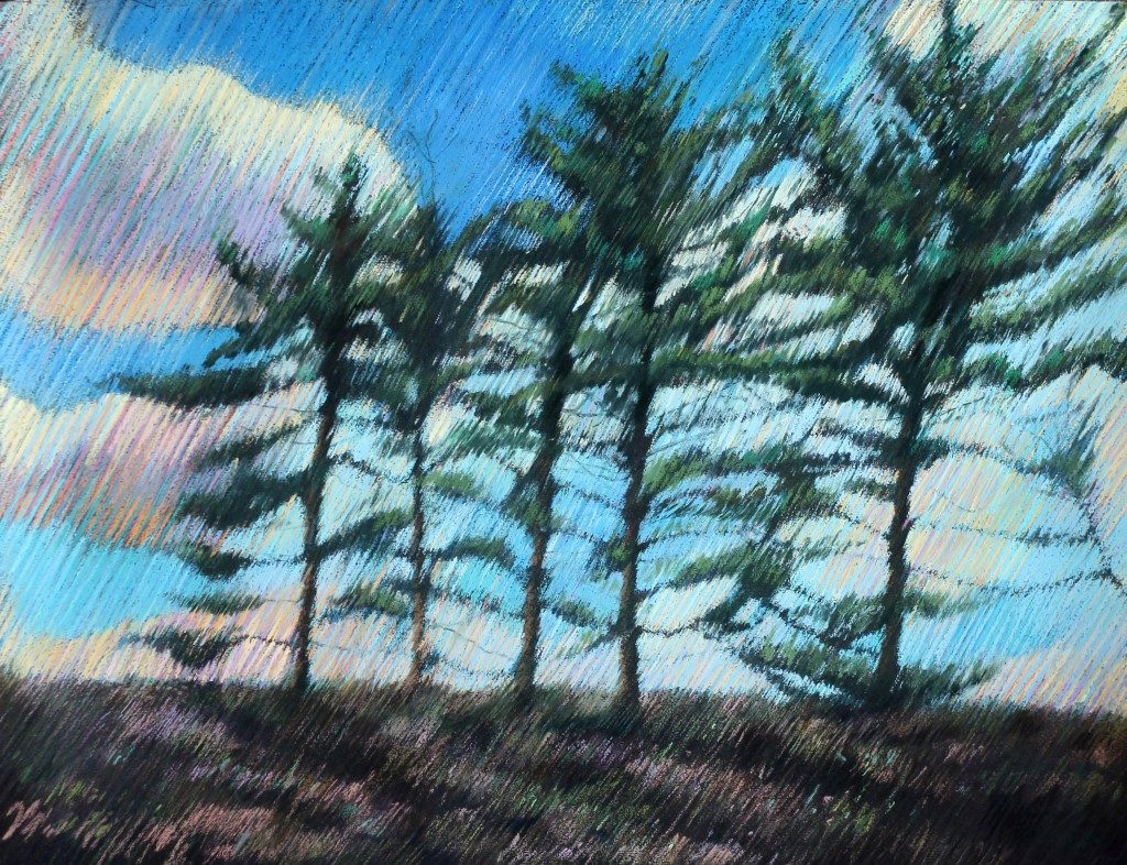 impressionistic treescape pastel drawing
