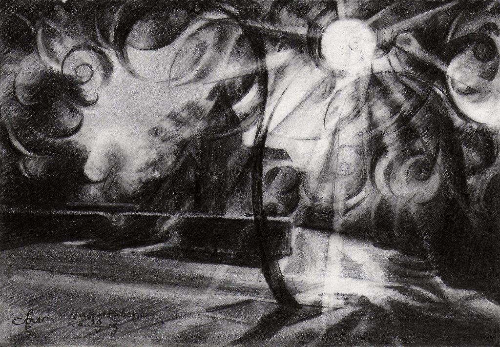Cubistic landschape graphite pencil drawing