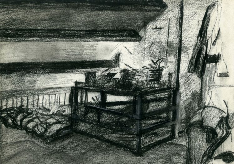 Impressionistic interior charcoal drawing