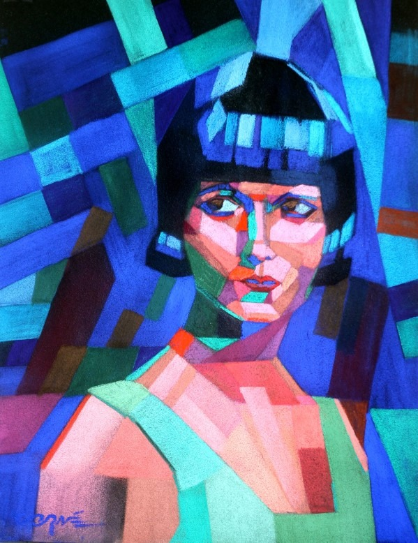 cubistic portrait pastel drawing of Louise Brooks