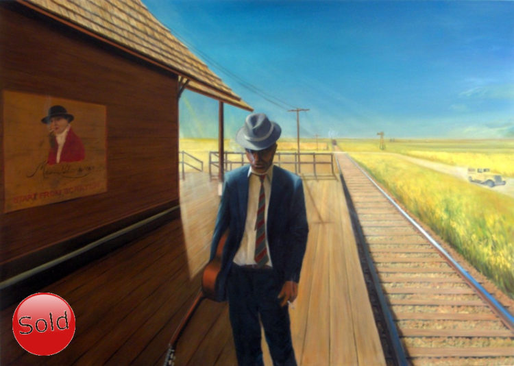 Surrealistic oil painting of Robert Johnson
