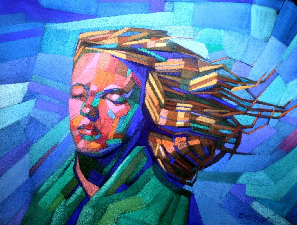 cubistic portrait pastel drawing of Marilyn Monroe