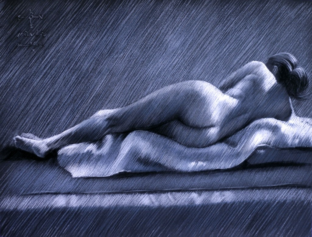 realistic nude pastel drawing
