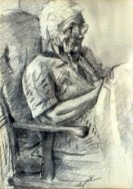 Impressionistic portrait graphite pencil drawing thumbnail