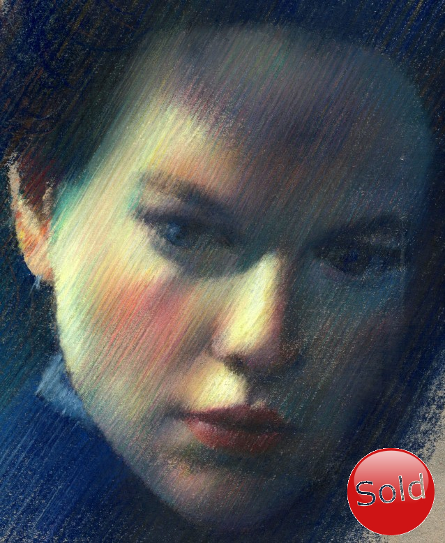 Impressionistic portrait of Nicole Kidman pastel pencil drawing