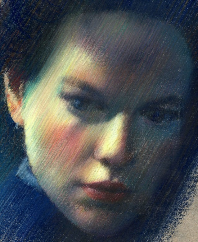 impressionistic portrait pastel pencil drawing of Nicole Kidman