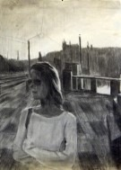 Impressionistic portrait charcoal drawing thumbnail