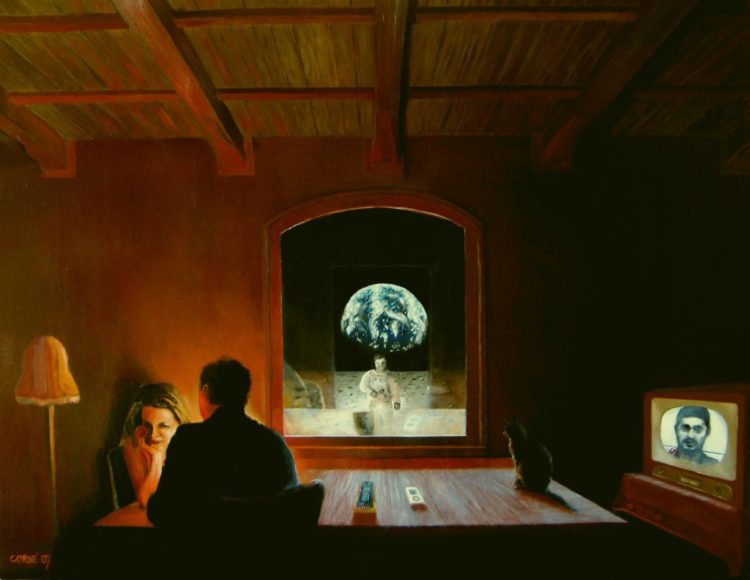 Surrealistic interior oil painting