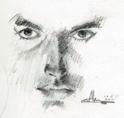 Realistic portrait graphite pencil drawing thumbnail