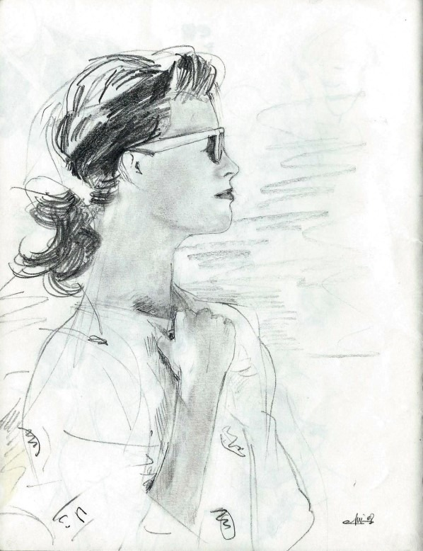 Realistic female portrait graphite pencil drawing