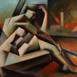 cubist nude oil painting