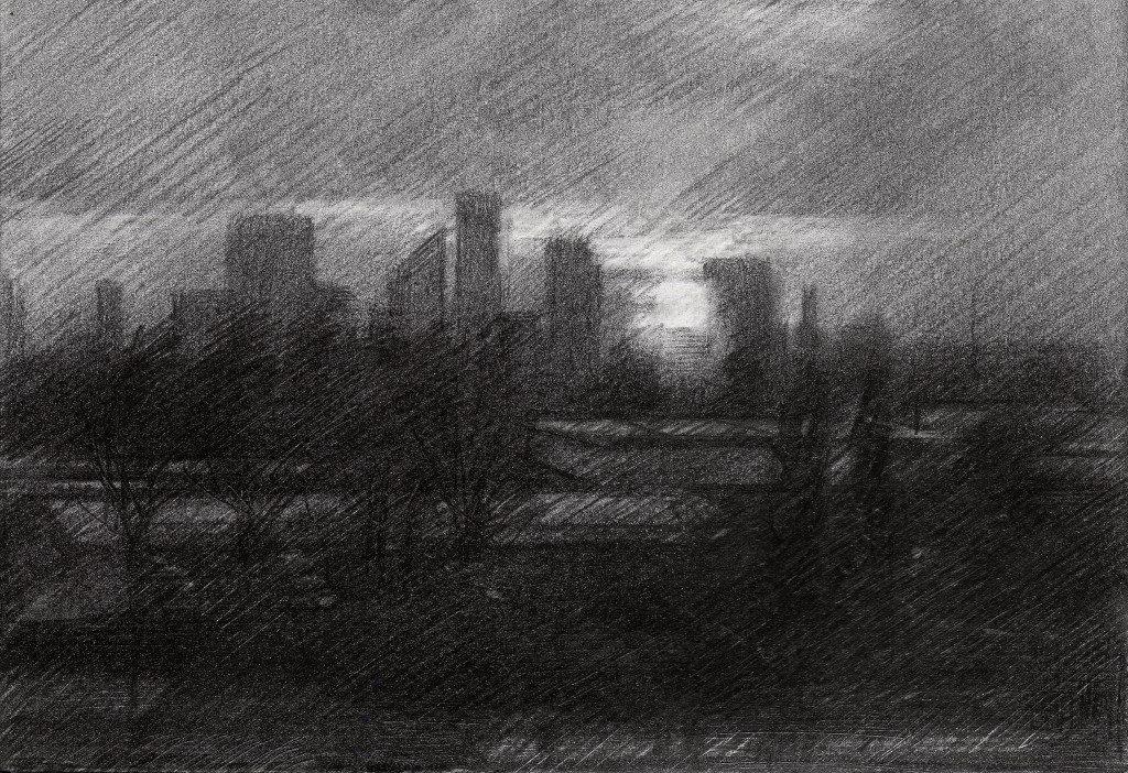Cubistic cityschape graphite pencil drawing