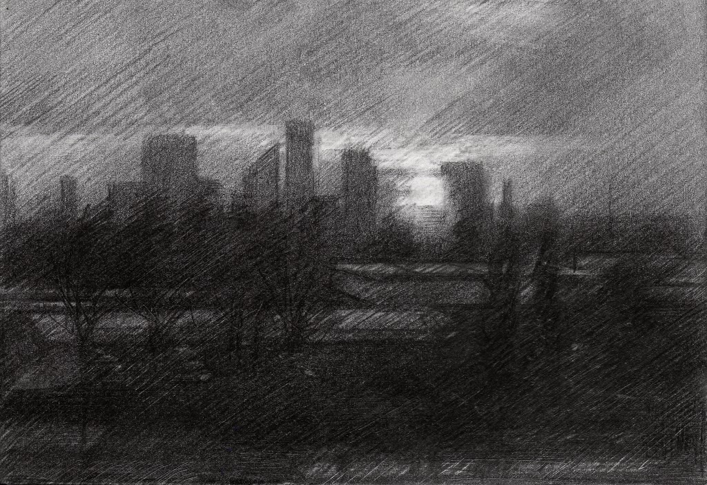 Cubistic cityschape graphite pencil drawing