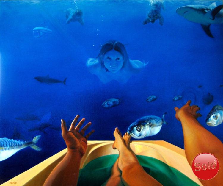 Surrealistic deep sea oil painting
