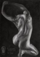 surrealistic nude graphite pencil drawing thumbnail