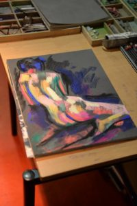 Work in progress on a expressionistic nude pastel drawing