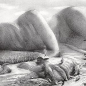 surrealistic nude graphite pencil drawing