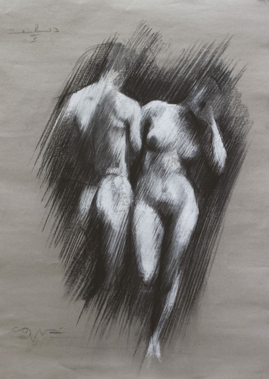 impressionistic pastel drawing of a nude couple