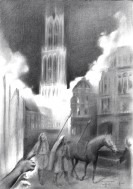 Surrealist cityscape of utrecht graphite pencil drawing thumbnail