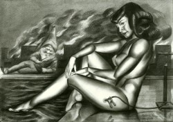 Surrealist nude graphite pencil drawing thumbnail