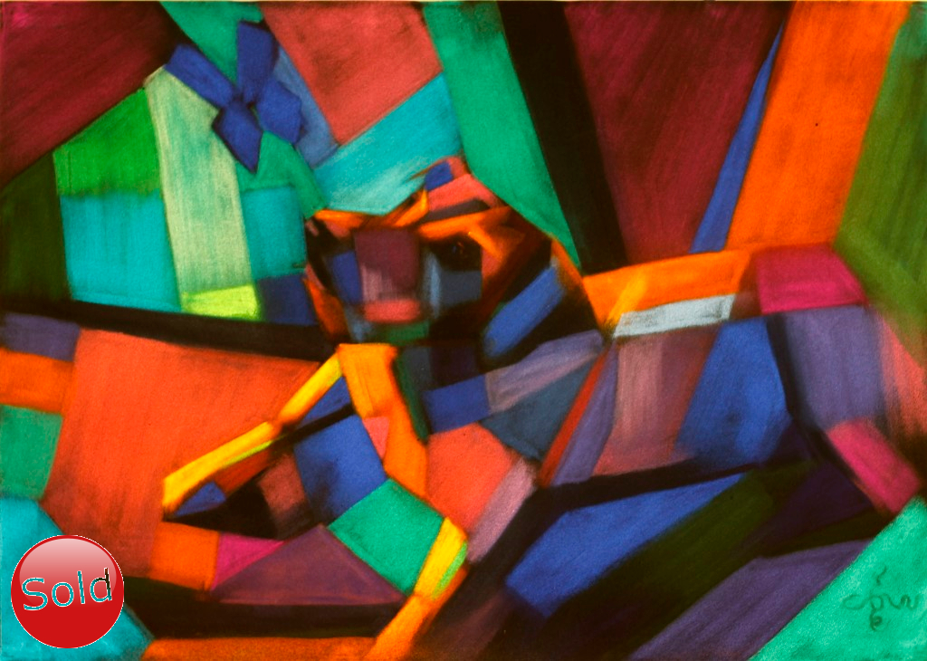 cubistic dog pastel painting