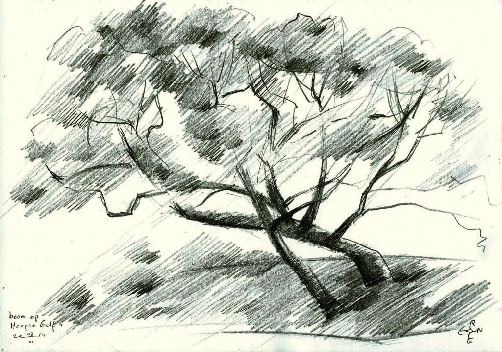 cubistic treescape graphite pencil drawing