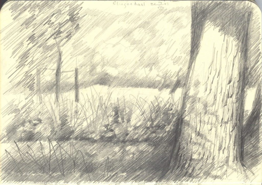 impressionistic treescape graphite pencil sketch