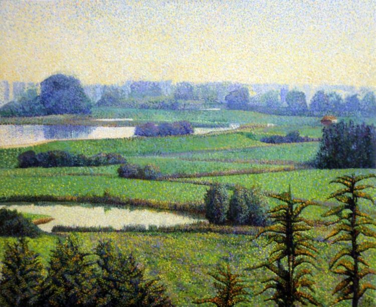 pointillistic landscape oil painting