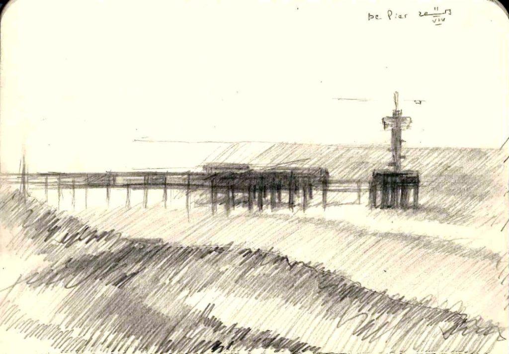 impressionistic seascape graphite pencil sketch