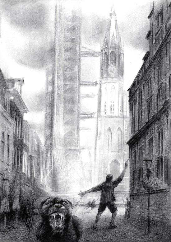 Surrealist cityscape of delft graphite pencil drawing