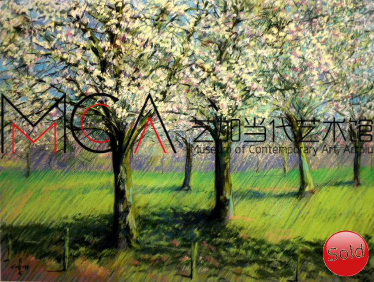 Impressionistic treescape pastel drawing advertisement