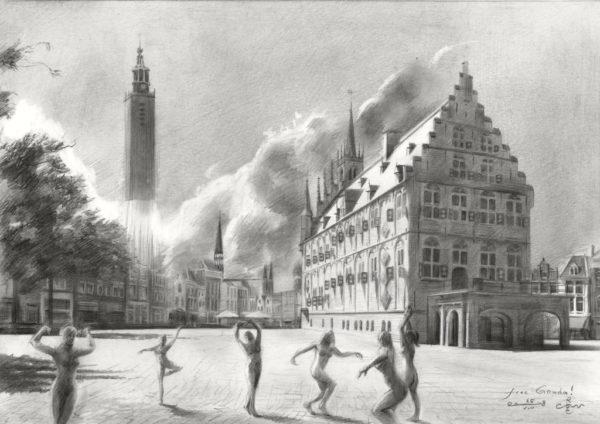 surrealistic cityscape graphite pencil drawing