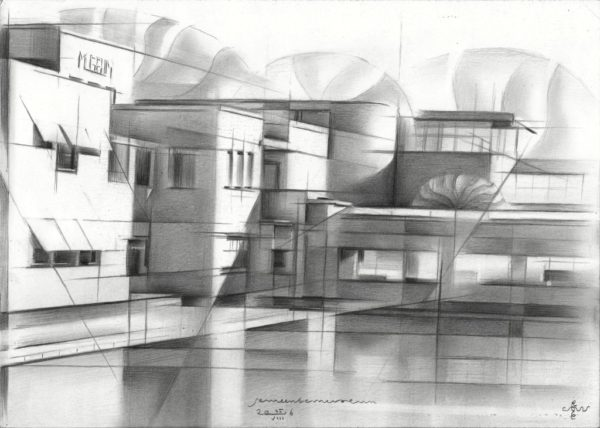 cubistic urban graphite pencil drawing