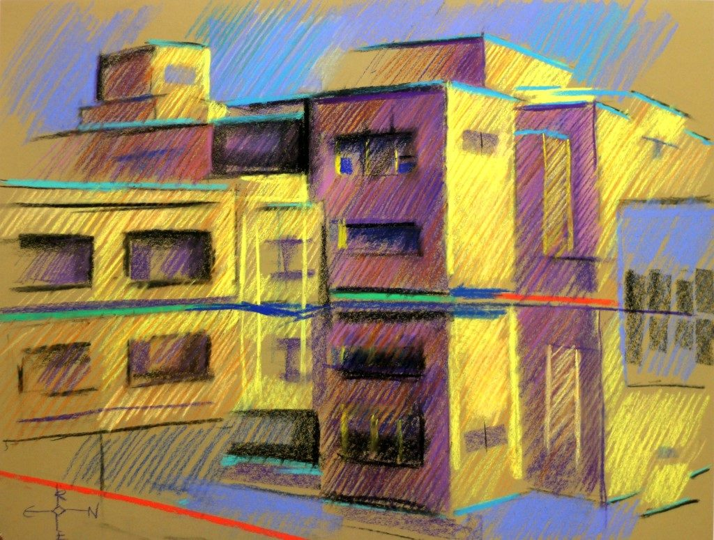 cubistic museum pastel drawing