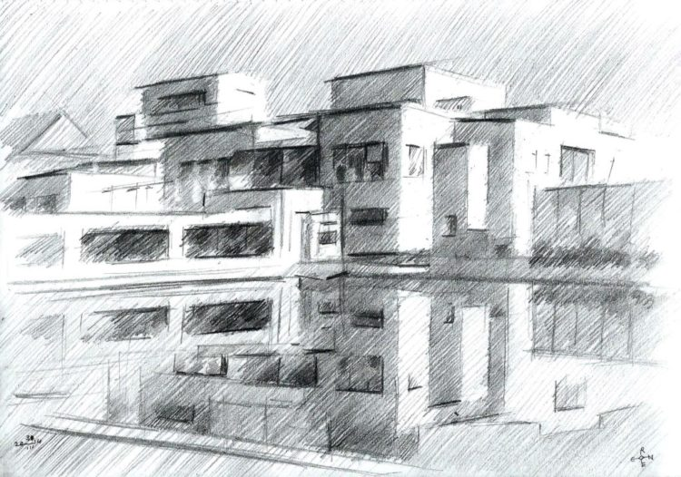 cubistic museum graphite pencil drawing