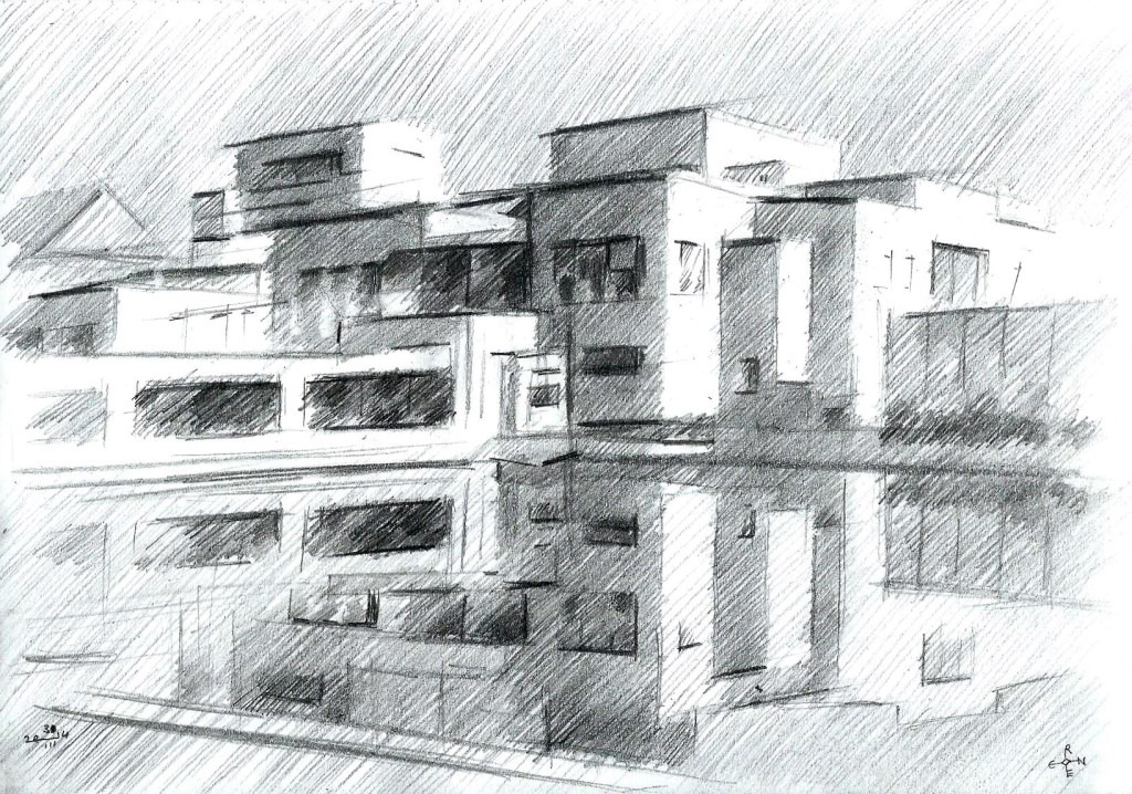 cubistic museum graphite pencil drawing