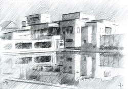 cubistic museum graphite pencil drawing thumbnail