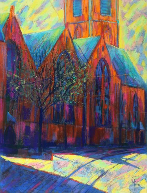 expressionist church pastel drawing