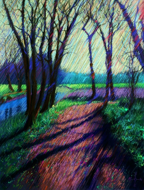 impressionistic landscape pastel drawing