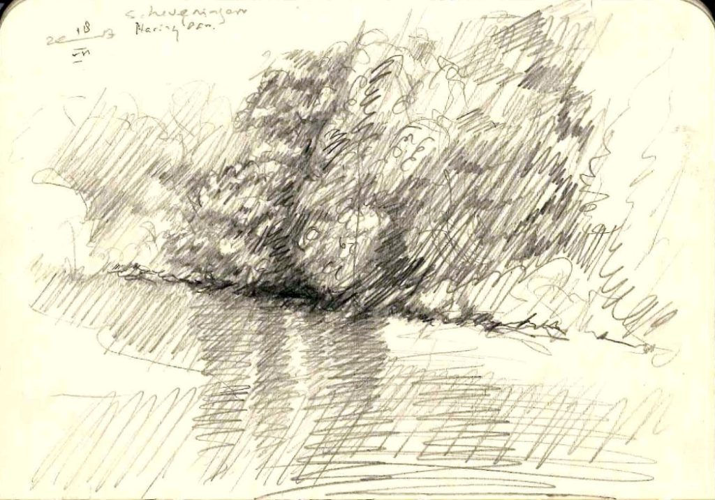 impressionistic landscape graphite pencil sketch