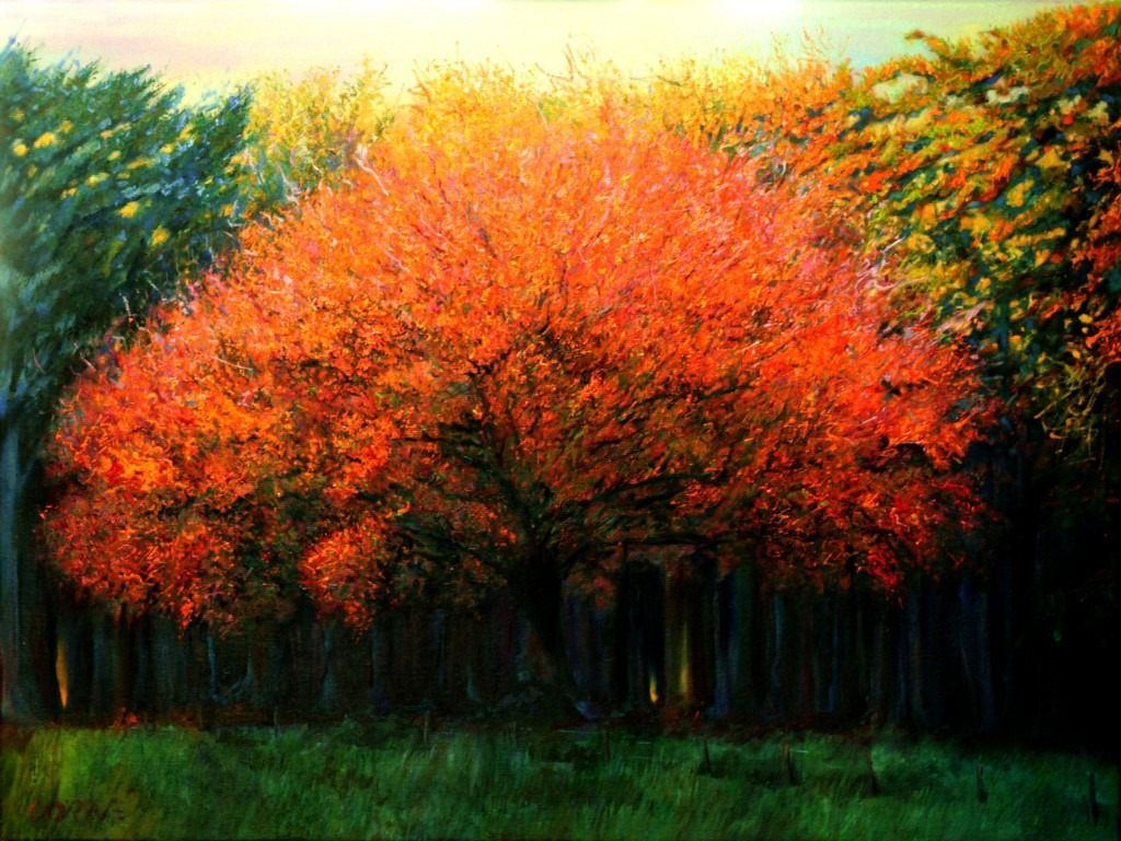 impressionistic treescape oil painting