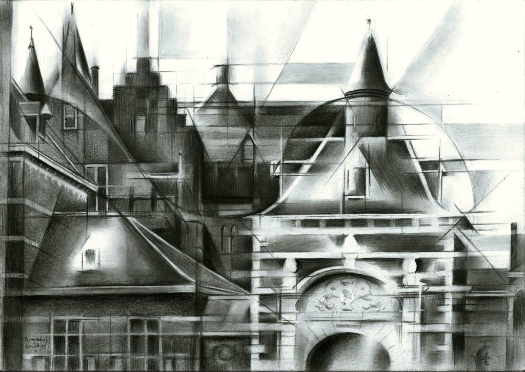 cubistic cityscape graphite pencil drawing