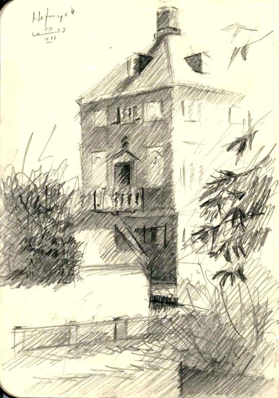 impressionistic mansion graphite pencil drawing