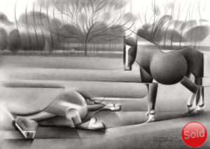 Cubistic animal graphite pencil drawing