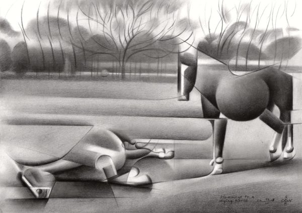 cubistic horses graphite pencil drawing