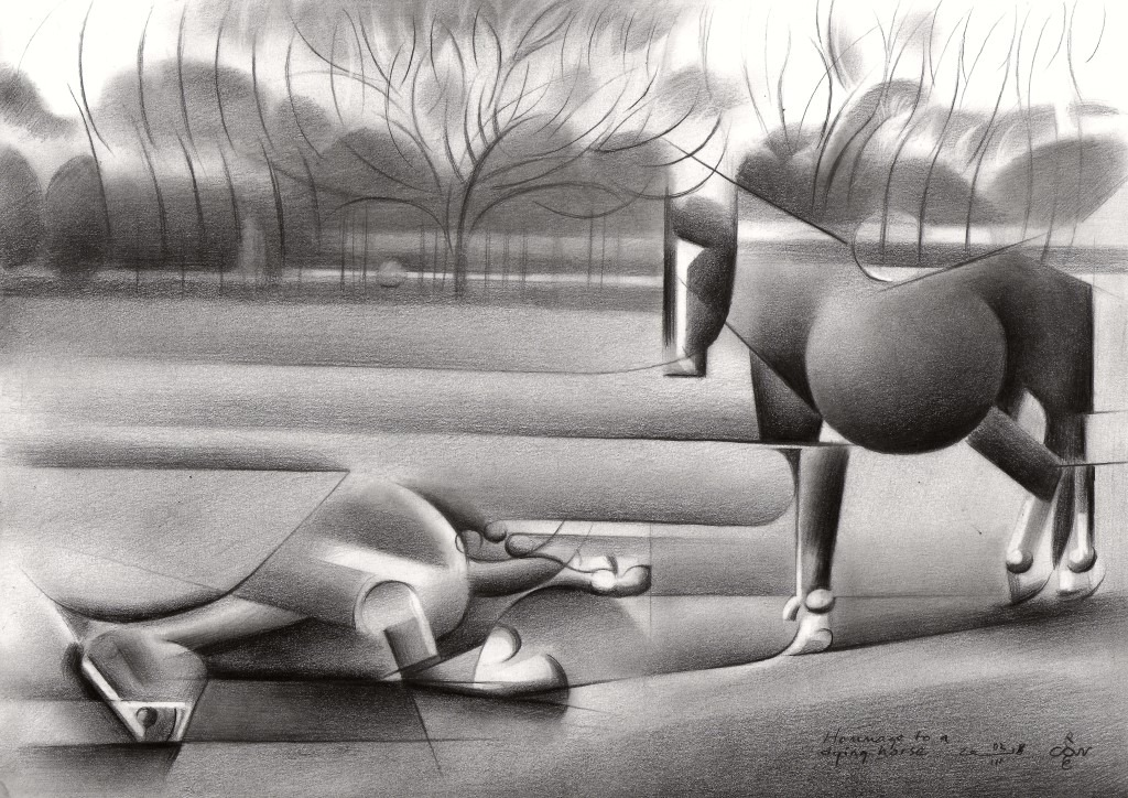 cubistic horses graphite pencil drawing